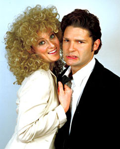 "Alana McNair and Corey Feldman in character as ""Glenn Close"" and ""Michael Douglas""