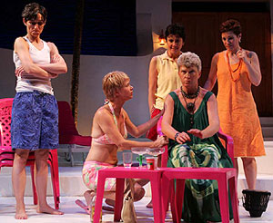 Dominique Dibbell, Peg Healey, Maureen Angelos, Babs Davy, and Lisa Kron in Oedipus at Palm Springs