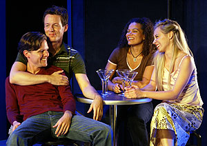 Paul Whitthorne, Christopher Sloan,January LaVoy, and Ryan Kelly in Joy (Photo © Carol Rosegg)
