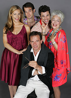 Peter Scolari and his In The Wings castmates:Lisa Datz, Brian Henderson, Josh Prince,and Marilyn Sokol(Photo © Carol Rosegg)