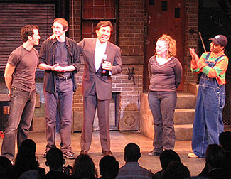Steve Wynn (third from left) giving a curtain speechon opening night of Avenue Q in Las Vegas(Photo © Michael Portantiere)