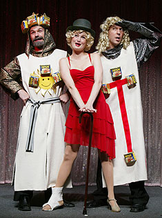 Jason Mills, Megan Lewis, and Ron Bohmerin Forbidden Broadway: Special Victims Unit