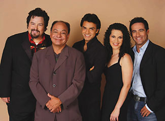 Cheech Marin (second from left) with the cast of Latinologues: Rick Najera, Eugenio Derbez, Shirley A. Rumierk, and Rene Lavan