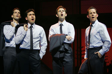 J. Robert Spencer, John Lloyd Young, Daniel Reichard, and Christian Hoffin Jersey Boys(Photo &copy; Joan Marcus)