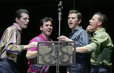 J. Robert Spencer, John Lloyd Young, Daniel Reichard, and Christian Hoffin Jersey Boys