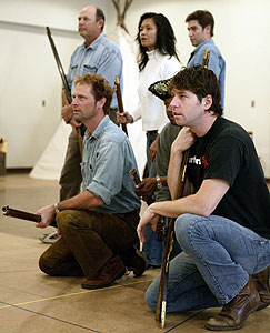 (clockwise from lower right) James Barbour,Eugene Lee, Jeffrey Nordling, Randy Oglesby,Tess Lina, and Roy Abramson in rehearsal forLewis and Clark Reach the Euphrates (Photo © Craig Schwartz)
