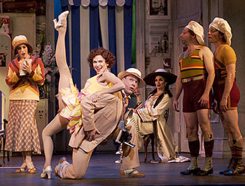 Angela Papello, Sutton Foster, Patrick Wetzel,  Beth Leavel, Jason Kravits, and Garth Kravits in The Drowsy Chaperone
