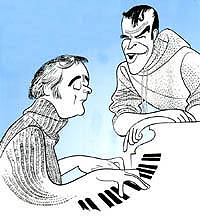 John Kander and Fred Ebbas depicted by Al Hirschfeld