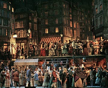 Act II of Franco Zeffirelli's production La Bohème at the Met(Photo © Ken Howard/Metropolitan Opera)