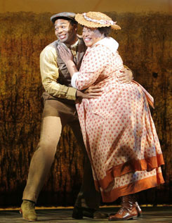 Brandon Victor Dixon and Felicia P. Fields in The Color Purple