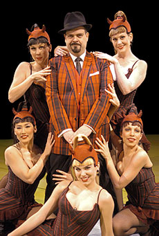 Brad Oscar and company in Damn Yankees(Photo © Scott Suchman)