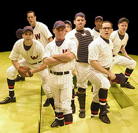 (l-r) Parker Esse, Michael S. Goddard, John Leslie Wolfe, Steven Cupo, Diego Prieto, Philip Michael Baskerville,Kevin M. Burrows, and Stephen Gregory Smithin Damn Yankees(Photo © Scott Suchman)