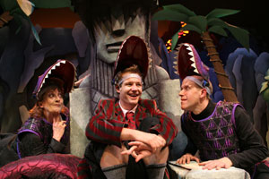Donna Migliaccio, Joshua Lamon, and Peter Schmitzin The Dinosaur Musical