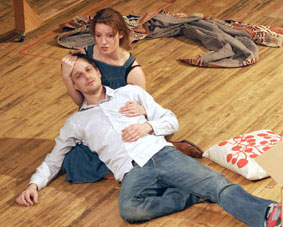 Josh Charles and Kate Arrington in rehearsal for The Well-Appointed Room
