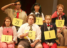 Jose Llana, Deborah S. Craig, Jesse Tyler-Ferguson,Celia Keenan-Bolger, Dan Fogler, and Sarah Saltzbergin The 25th Annual Putnam County Spelling Bee