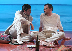 Oscar Isaac and Ritchie Coster in Beauty of the Father