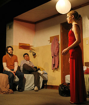 Christopher Denham, Gary Wilmes, and Lisa Joycein Red Light Winter