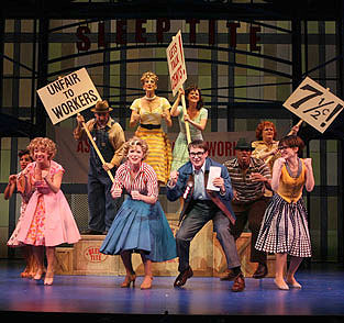 Jen Cody, Kelli O'Hara, Peter Benson, Joyce Chittick, and company in The Pajama Game