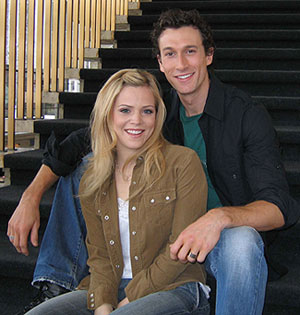 Katie Clarke and Aaron Lazar in the lobbyof the Vivian Beaumont Theater(Photo © Michael Portantiere)