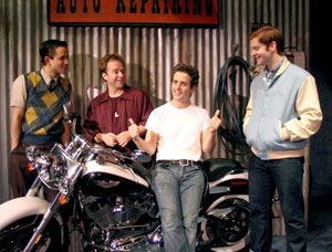Robert Petrarca, Ryan Bollman, Joey McIntyre, and Rory O'Malley in Happy Days
