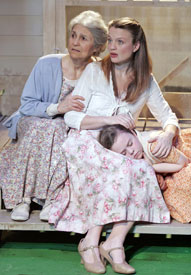 Lynn Cohen, Margot White, and Quincy Confoy in The Traveling Lady (Photo © Carol Rosegg)