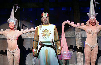 Naomi Kakuk, Michael Siberry, and Amanda Kloots in Monty Python's Spamalot