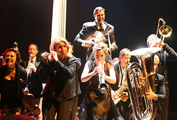 Raúl Esparza and cast in Company(Photo © Sandy Underwood)