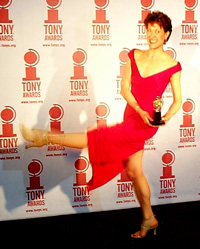 Karen Ziemba kicks up her heelsin the press room at Radio City Music Hall(Photo by Forrest Mallard)