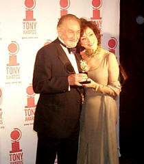 Roy Dotrice with presenter Dixie Carter(Photo by Forrest Mallard)