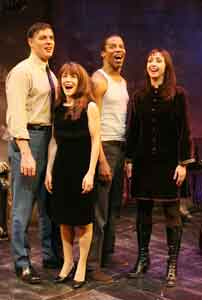 Robert Cuccioli, Gay Marshall, Rodney Hicks, and Natascia Diaz in Jacques Brel...