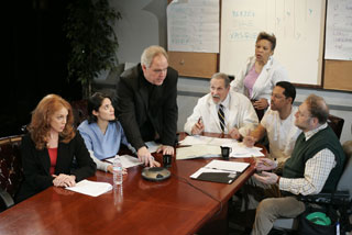 Amy Von Nostrand, Maha Chelaoui, Michael Mulheren, Larry Keith, Brenda Thomas, Peter Jay Fernandez, and Ron Orbach in The God Committee (Photo © Carol Rosegg)