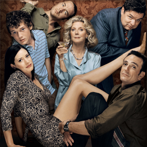 Clockwise from bottom left: Paget Brewster, Anton Yelchin, Andy Comeau, Blythe Danner, Oliver Platt, and Hank Azaria in Huff