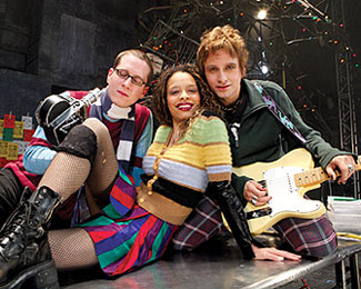 Rocking on: Caplan, Smith, and Howarphotographed onstage at the Nederlander Theatre(Photo © Scott Wynn)