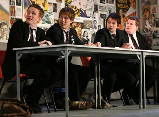 Jamie Parker, Andrew Knott, Dominic Cooper, and James Corden in The History Boys  (Photo Joan Marcus)