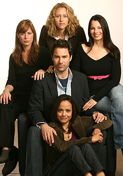 Eric McCormack,  Maura Tierney,  Brooke Smith,Fran Drescher, and Judy Reyes of Some Girl(s) (Photo © Joan Marcus)