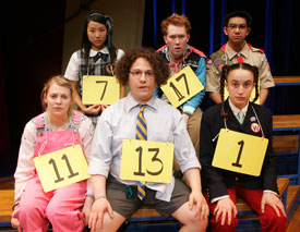 Greta Lee, Stanley Bahorek, Aaron J. Albano,Jenni Barber, Jared Gertner, and Sara Inbar in The 25th Annual Putnam County Spelling Bee