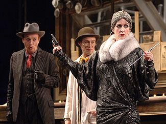 Charles Dean, Rod Knapp, and Linda Mugleston in Happy End(Photo &copy; Kevin Berne)