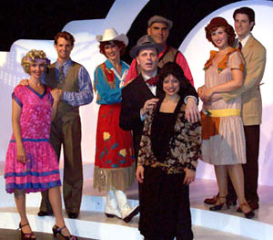 Ivy Austin, Michael Simon Hall, Christine Bokhour,Howard Kaye, Katie Allen, Nick Verina, Sidney J. Burgoyne,and Staci Rudnitsky in Manhattan Madcaps of 1924(Photo © C. Elliott)