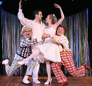 Martin Vidnovic, Santino Fontana, Sara Jean Ford,and Leo Burmester in The Fantasticks(© Joan Marcus)
