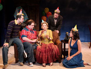 Jeff Binder, Jordan Gelber, Kate Blumberg, Peter Benson, and Maggie Kiley in Birth and After Birth