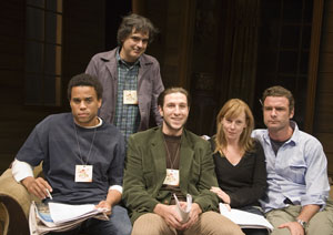 Michael Ealy, Miguel Areta, Pablo Schreiber,  Amy Ryan, and Liev Schreiber at rehearsal for The 24 Hour Plays(© Katvan Studio)