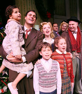 James Clow, Catherine Brunell,  and company  in A Wonderful Life (© Gerry Goodstein)