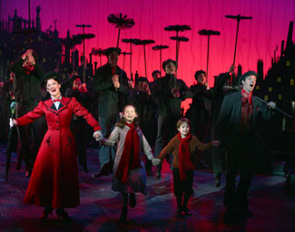Ashley Brown, Katherine Leigh Doherty, Alexander Scheitinger, Gavin Lee, and company in Mary Poppins (© Joan Marcus)