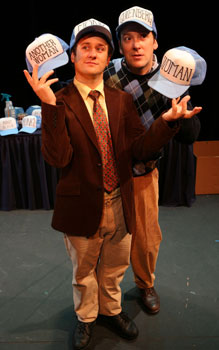 Christopher Fitzgerald and Jeremy Shamos  in Gutenberg! The Musical! (© James Ambler)