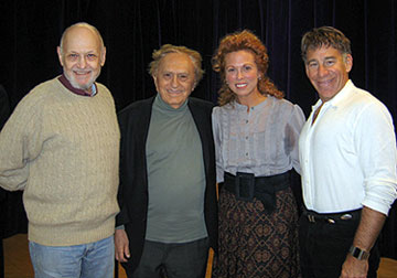 Charles Strouse, Joseph Stein, Carolee Carmello,  and Stephen Schwartz at the Rags press preview 
