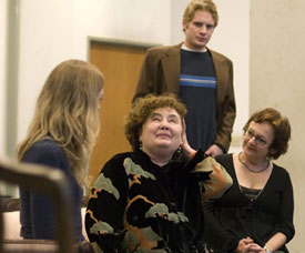 Kathleen Widdoes (center) and company in rehearsal for The Circle