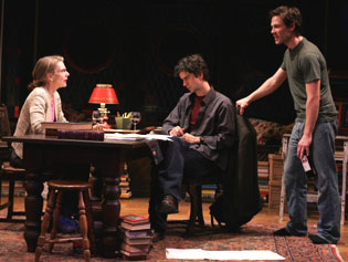 Jill Clayburgh, Hamish Linklater, and Luke McFarlanein The Busy World Is Hushed