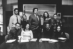 The cast of Deadline includes Hope Davis andOliver Platt (standing, second and third from left)